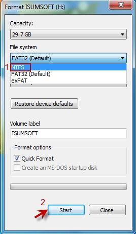 select NTFS format