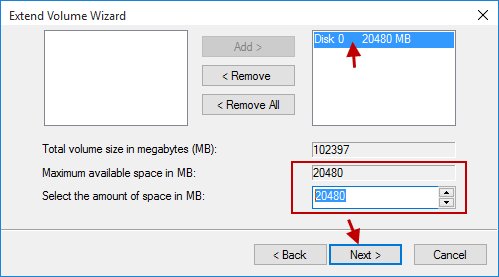 add space to disk