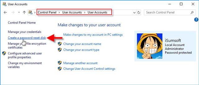 click Create a password reset disk