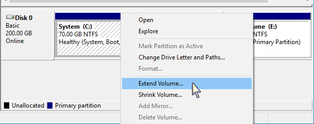 extend volume C