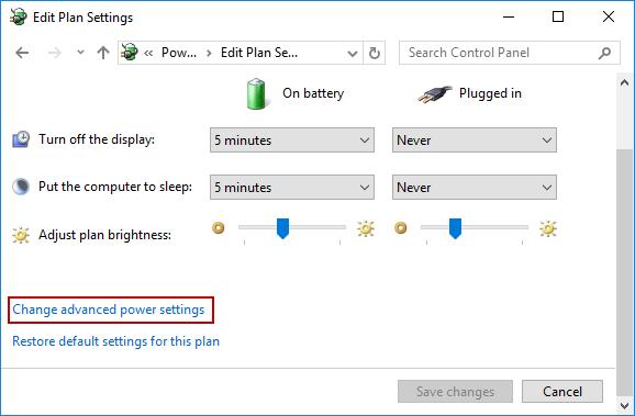 change advanced power settings
