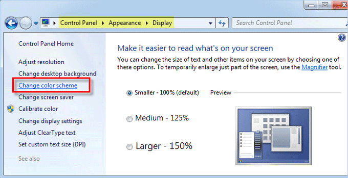 click Change color scheme