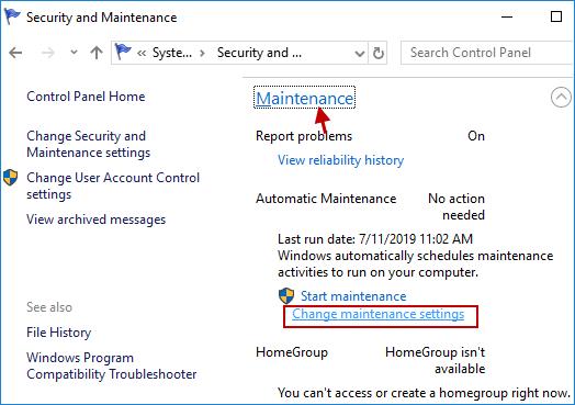 cambiar la configuración de mantenimiento