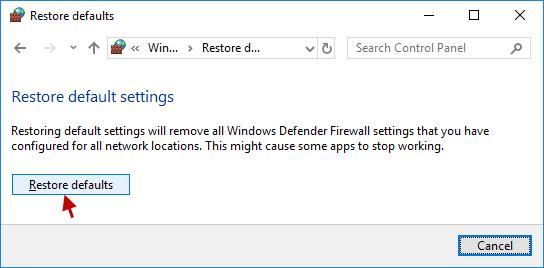 click restore defaults again