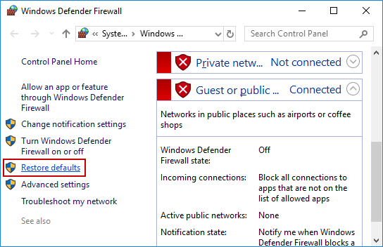 click Restore defaults link