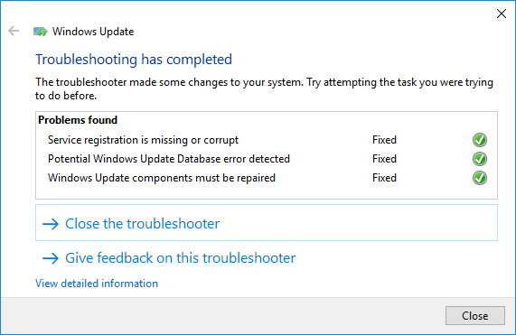 complete the troubleshooting process