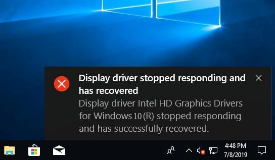 el controlador de pantalla dejó de responder