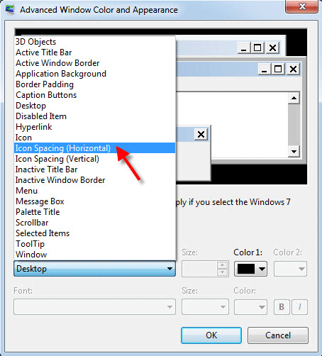 icon spacing options