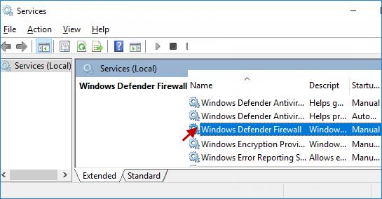 look for Windows Defender Firewall