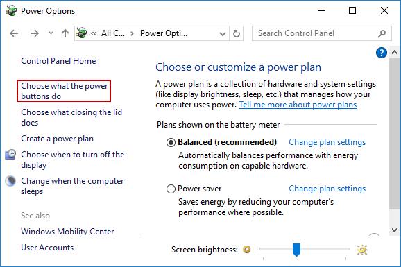 open power options