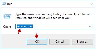 open Services window