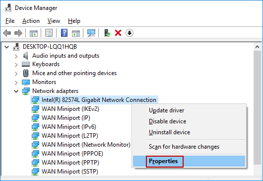 right-click Network Connection
