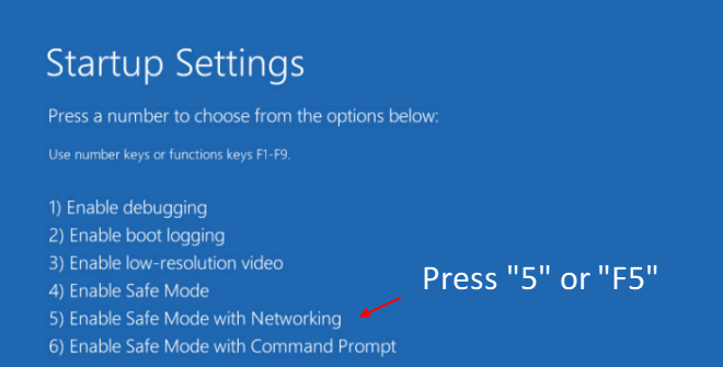 Safe Mode with networking in Windows 10