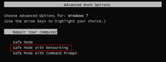 Safe Mode with networking in Windows 7