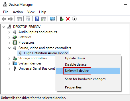 select Uninstall device option