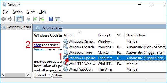 stop the Windows Update