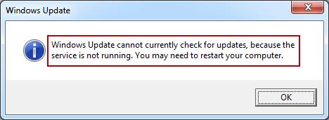 the Windows Update Service not running