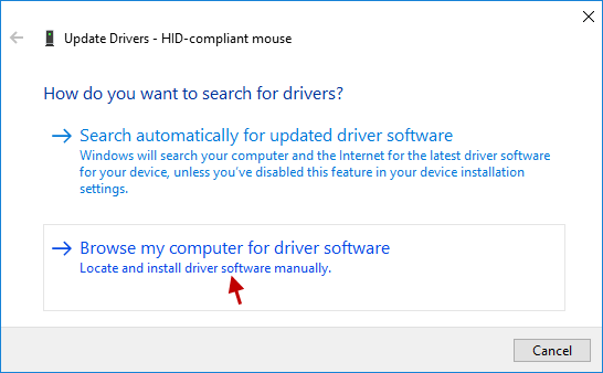 Browse computer for driver software