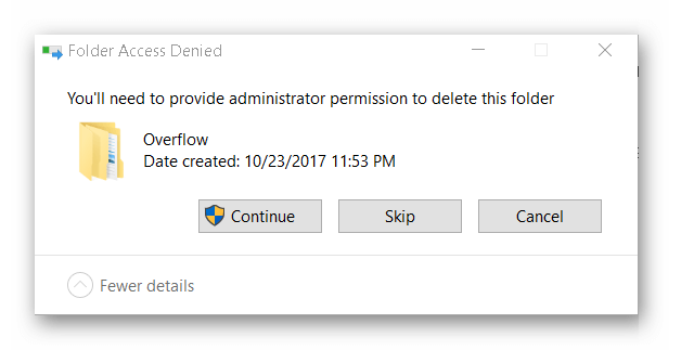 cannot delete the folder that access denied