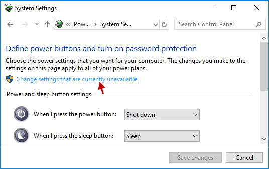 Change settings that are currently unavailable