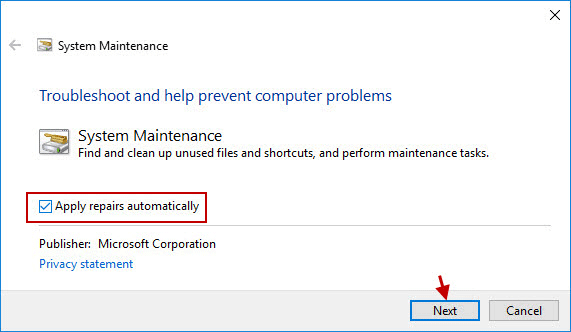 check Apply repairs automatically