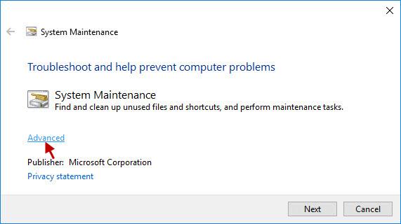 click Advanced option