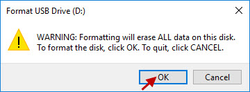 click OK to confirm