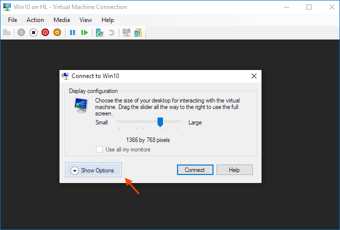 Connect to the virtual machine