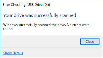 USB drive successfully scanned