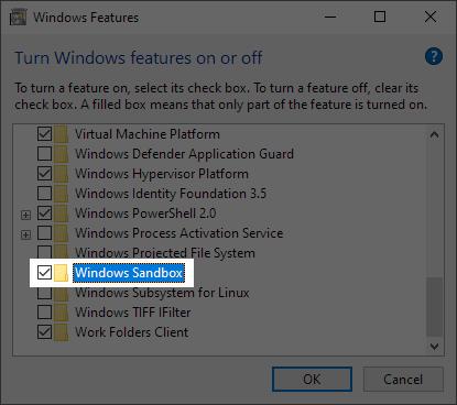 Enable Windows sandbox