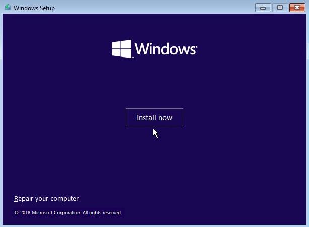 instalar el sistema de Windows
