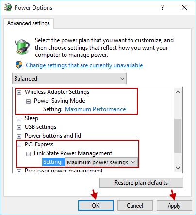 modify power plan settings