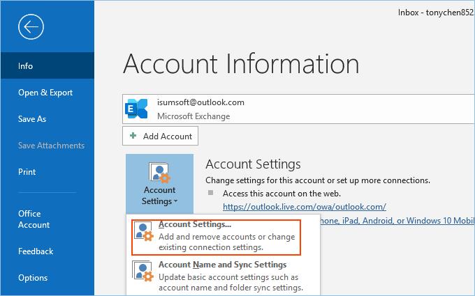 Open outlook account settings