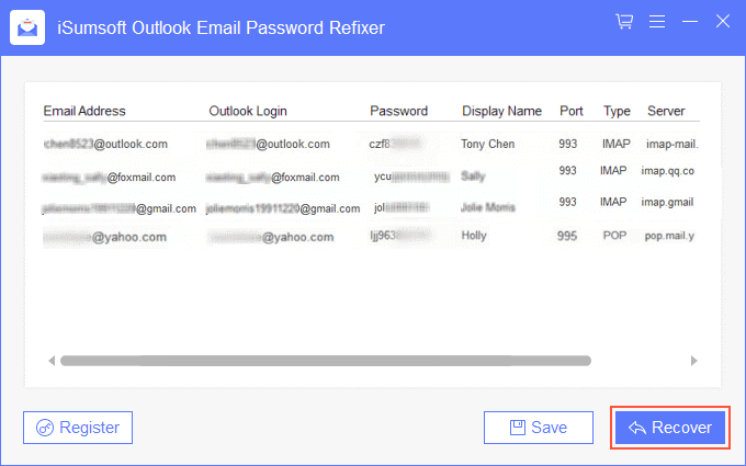 Recover email password saved in Outlook