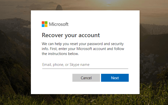 Type the outlook account you want to reset password for