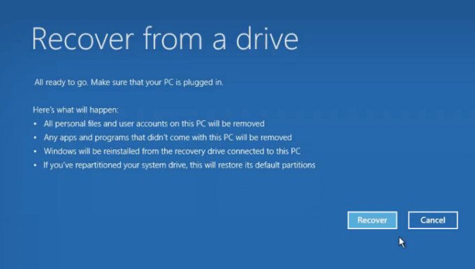 Reset PC using a recovery drive