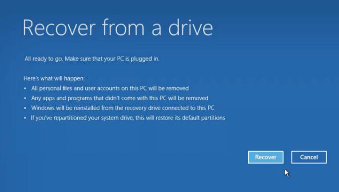 Restablecer la PC usando una unidad de recuperación