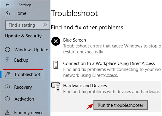 Run Hardware and Devices troubleshooter