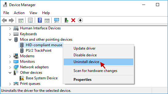 select Uninstall device