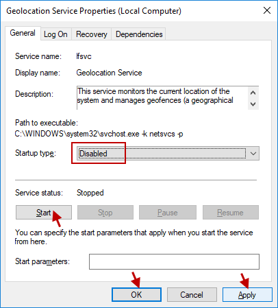 set Startup type to Disabled