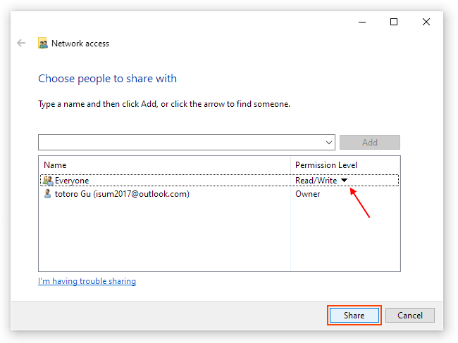 Sharing permission: read and write access