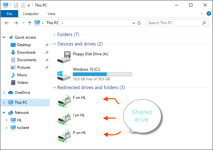 Shared drives from local resource