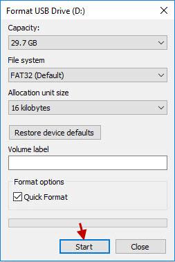 comenzar a formatear la unidad USB