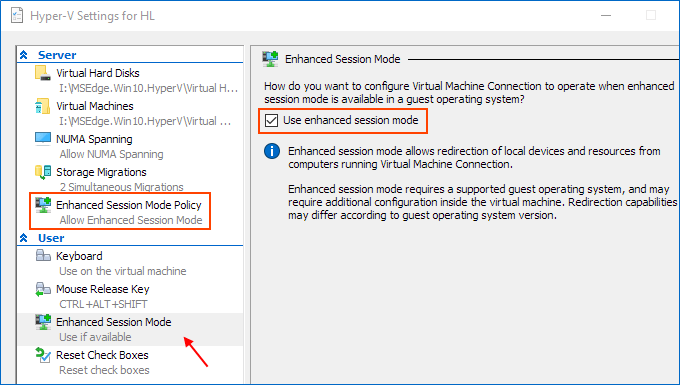Enable and use enhanced session mode