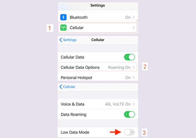Habilitar el modo de datos bajos para datos móviles