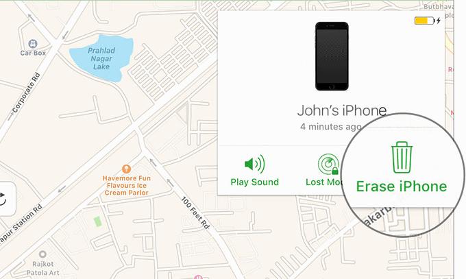 Erase iPhone via iCloud
