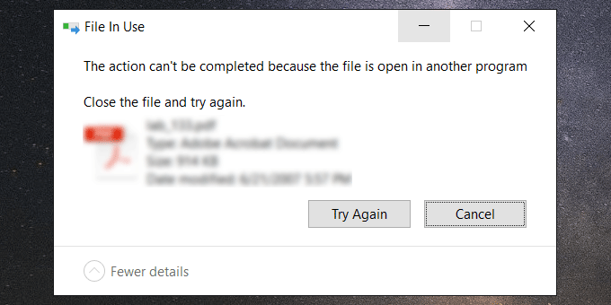 file open in another program