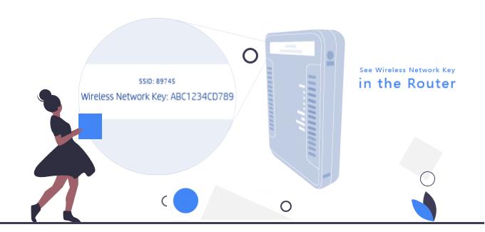 Encuentre la contraseña de la clave de seguridad de la red inalámbrica en el enrutador inalámbrico
