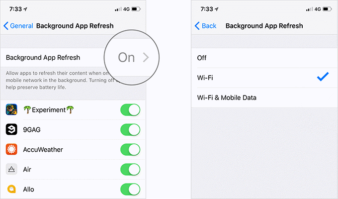 Limit Background App Refresh to Wi-Fi
