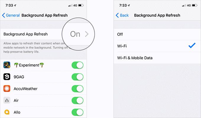 Limitar la actualización de la aplicación en segundo plano a Wi-Fi